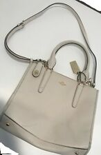 Coach Womens Large Shoulder Tote Satchel Handbag Ivory Leather used