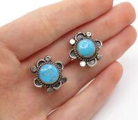 925 Sterling Silver - Vintage Turquoise Twist Non Pierce Drop Earrings - E8262