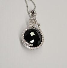 Giorgio Visconti 18k White Gold Black Hematite Diamond Halo Pendant Necklace