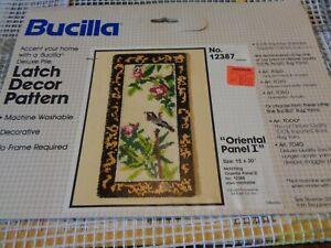 "VINTAGE BUCILLA LATCH HOOK RUG CANVAS ORIENTAL PANEL SIZE 15"" X 30"" FLOWERS BIRD"