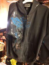 SILVER POINT Men's Charcoal DRAGON Appliqued Full Zip Hoodie Sweatshirt Medium