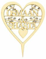 Personalised Heart Cake Topper, Wedding Cake Topper, Cake Topper, Wood Craft