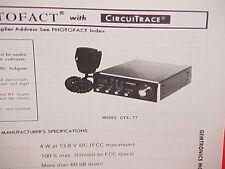1978 GEMTRONICS CB RADIO SERVICE SHOP MANUAL MODEL GTX-77