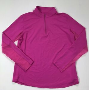 Icikuls 1/4 Zip Golf Top Size Large Bright Pink Long Sleeve Shirt Mesh Sleeves