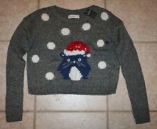 NWT Abercrombie Girls Medium Intarsia Kitten Cat Grey Santa Christmas Sweater
