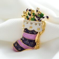 *Uk* Purple / Pink Christmas Stocking Brooch Pin Presents Festive Gift Crystal