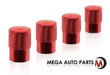 4 Pc Round Tip Red Wheel Valve Air Stem Cap Tire Screw Dust Cover Car Truck Bike