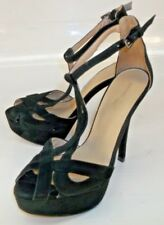 Zara Basic Womens Shoes EU 38 Black Suede Heels Dress Peep Toe Stilettos Dancer