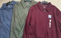 Croft & Barrow 1/4 Zip Fleece Polo Shirt Long Sleeve Blue or Maroon XXL 2X  NWT