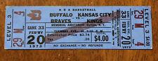 RARE 1973 Buffalo Braves Full Unused Ticket vs Kansas City Kings Buffalo AUD