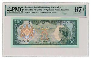 BHUTAN banknote 100 Ngultrum 1986 PMG MS 67 EPQ Superb Gem Uncirculated