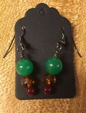 Jade, Honey And Cranberry Glass Earrings