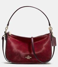 Coach 38337 Chelsea Haircalf Leather Crossbody Shoulder Bag (Burgundy)