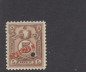 Peru 1909, 5c Postage Due, American Bank Note Co. SPECIMEN overprint. NH #J41