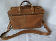 "MURANO TAN LEATHER BUSINESS BRIEFCASE ADJUSTABLE SHOULDER STRAP 15""LAPTOP SPACE"