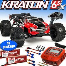 V4 Arrma Kraton Package Deal with Charger and 4s battery package, Blx Rtr Red