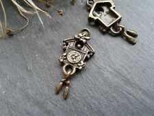 Antique Bronze Cuckoo Clock Charms D1 10pcs Steampunk Vintage Pendants Kitsch