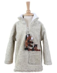 Dangly Horse Zip Neck Childrens Fleece With Keyring - Pebble