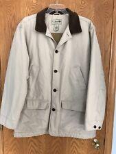 LL BEAN Mens Barn Coat Jacket Tan Khaki Quilted Lining Thinsulate Size XL Tall