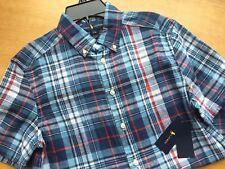 Polo Ralph Lauren Shortseeve Madras Buttondown Blue Red Plaid Shirt L 14 16 Boys