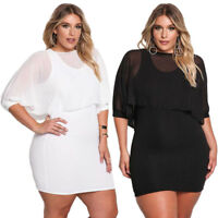 Sexy Women Plus Size Dress Casual Bodycon Evening Cocktail Chiffon Mini Skirt