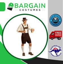 AU Stock Mens Bavarian Lederhosen German Oktoberfest Beer Guy Costume M L XL XXL