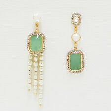 SE131 Round Rectangle Unbalanced Drop Dangle Cascade Earrings Rhinestone Formica