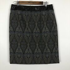 Anthropologie Etcetera brocade faux leather textured straight Pencil skirt 6