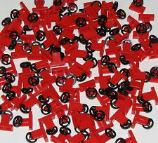 Lego Lot of 100 New Red Vehicle Steering Stand 1 x 2 with Black Steering Wheel
