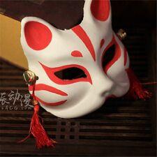 Japanese Anime Half Face Fox Mask Kitsune Halloween Cosplay Hand-painted Mask