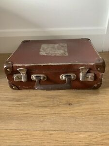 Vintage Small Old Style Brown Suitcase 1950's - 1960's
