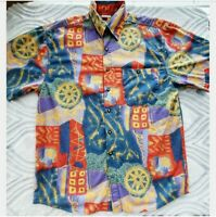 VTG 90s The Territory Ahead Button Front Shirt Abstract Pattern Sz M