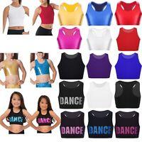 Kids Girls Sports Bras Top Gym Training Bra Dance Camisole Vest Blouse Crop Top