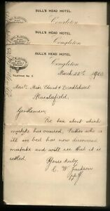 1903 CONGLETON, BULLS HEAD HOTEL, THREE HEADED LETTERS, CHAS. W. JACKSON