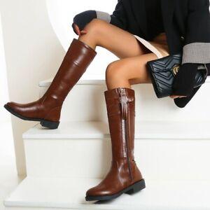 Women's Boots Outdoor Punk Zip Up Knee High Riding Comfortable Block Heel