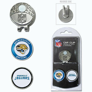 Jacksonville Jaguars NFL Team Golf Cap Clip with 2 Magnetic Enamel Ball Markers