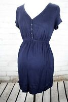 Motherhood Maternity Babydoll Henley Tunic Dress Nursing V-Neck Top Size S Blue