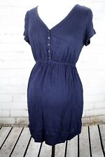 Motherhood Maternity Babydoll Henley Tunic Dress Nursing V-Neck Top Size S Blue