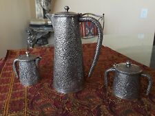 EXCEPTIONAL ANTIQUE HAND CHASED SOLID SILVER INDIA KASHMIR TEA SET PAISLEY DSGN