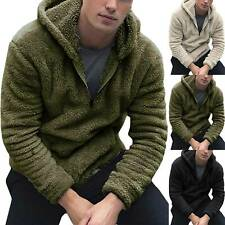 Mens Coat Fluffy Pocket Hoodie Winter Casual Warmer Hooded Jacket Zipper Outwear