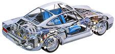 PORSCHE 959 SPORTS CAR CUTAWAY POSTER PRINT 17x36 HI RES