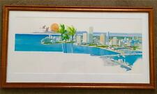 Vintage Miami Florida Skyline Mixed Media Boats Palm Trees Geese Framed