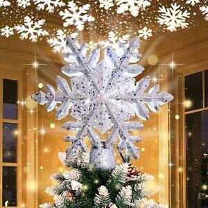 Christmas Tree Topper with LED Rotating Snowflake Projector Christmas Tree Decor