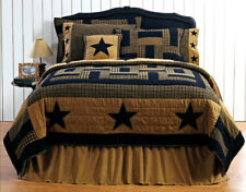 Delaware  5pc Quilt Set Black Star Primitive Country Rustic Queen Bedding Plaid