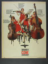 1963 Girls Playing Violin Cello Upright Bass photo Cone Mills vintage print Ad