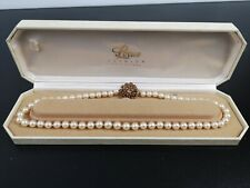 "19 1/2 "" Cultured Pearl Necklace with Ruby Set and 9K Carat Gold Clasp"