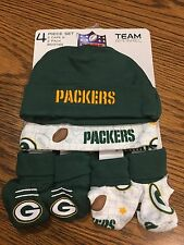 Green Bay Packers NFL 4 Piece Gift Set 2 Baby Caps & 2 Pack Booties New With Tag