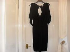 Black Miss Selfridge V Neck Dress with Open Back - Size 6 - Worn once only