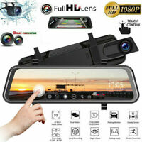 Car DVR Rearview Mirror Dash Cam HD 1080P Camera Recorder 10'' Dual Lens Touch