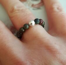 BLOODSTONE STRETCH RING STERLING SILVER SMALL 4mm BEAD CHAKRA YOGA HEALING GIFT